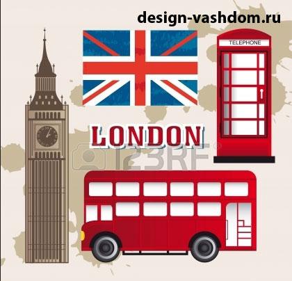 Пример фона для стенда по английскому языку - автобус и телефонная будка