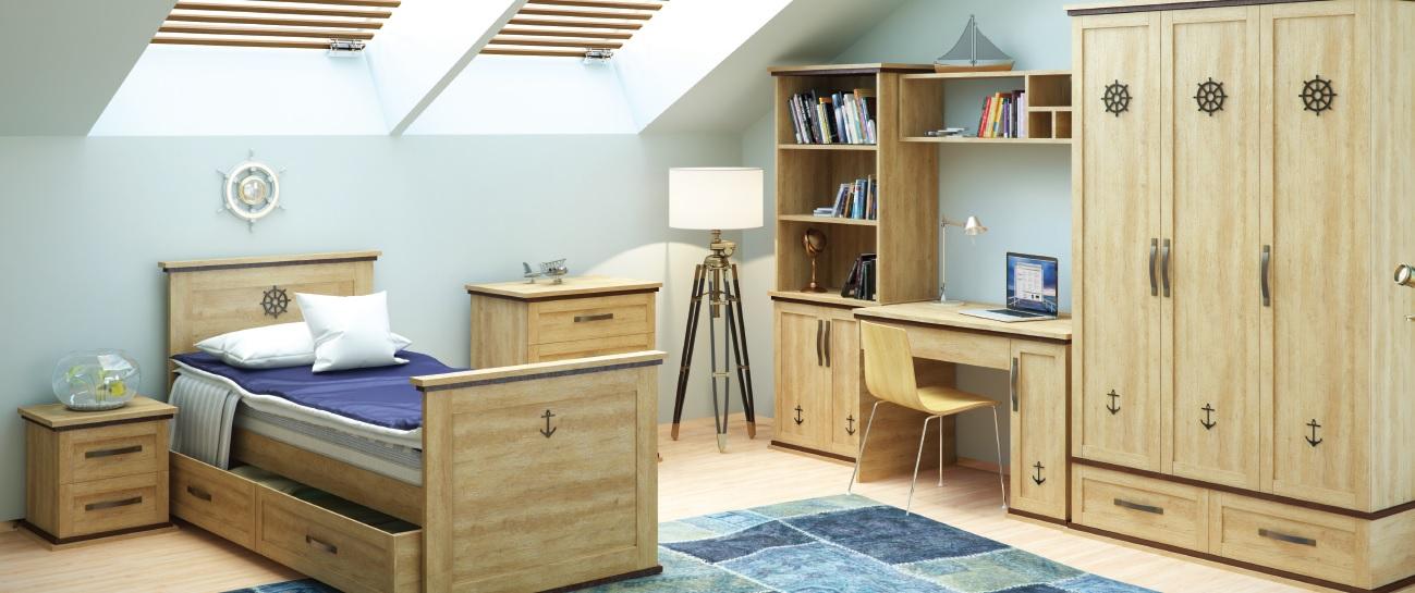 Мебель для мальчика в морском стиле из натурального дерева