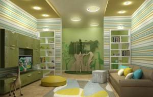 Дизайн гостиной-детской