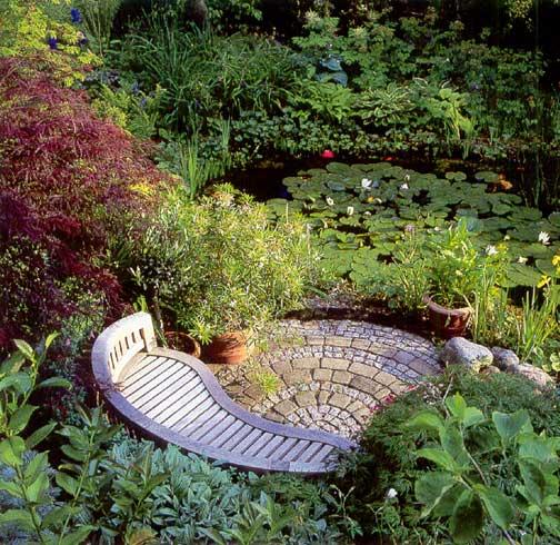 скамейка возле пруда
