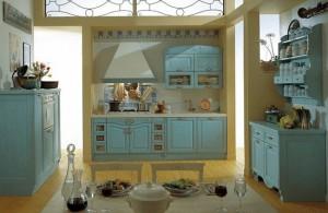 Кухня в стиле кантри зеленая