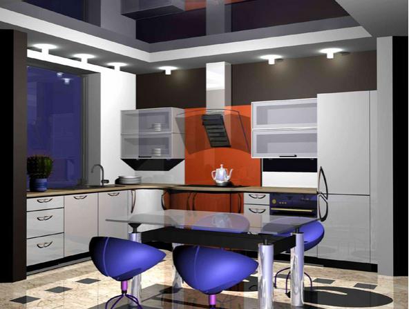 Расположение светильников разделяет кухню на две зоны: рабочую и обеденную