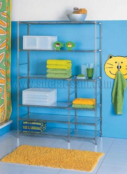 Альтернатива классическим ванным шкафчикам - металлические полки для ванной