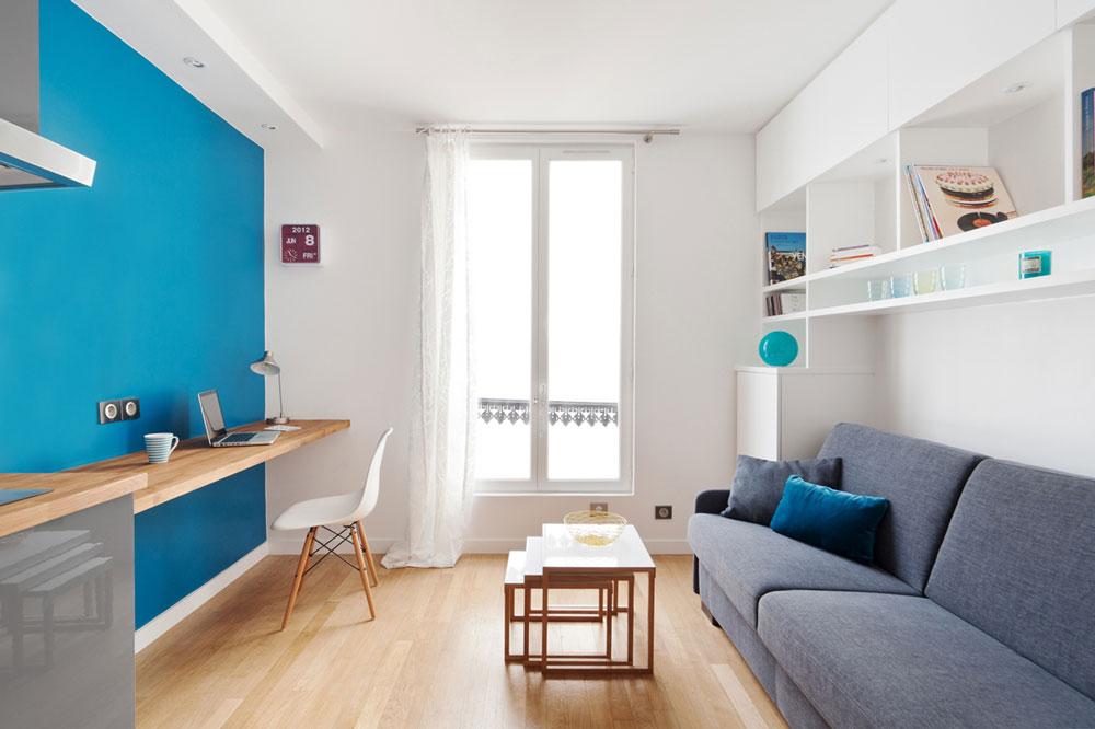 Зонирование цветом маленькой 15 метровой комнаты студии