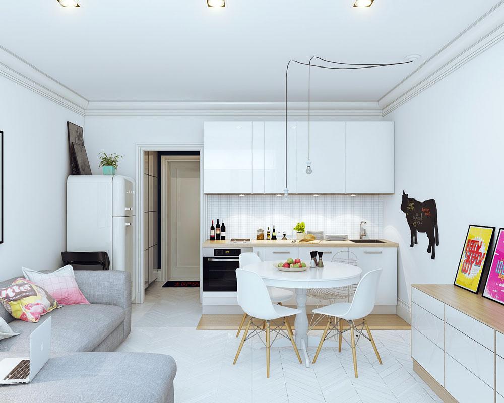 Белый интерьер квартиры-студии