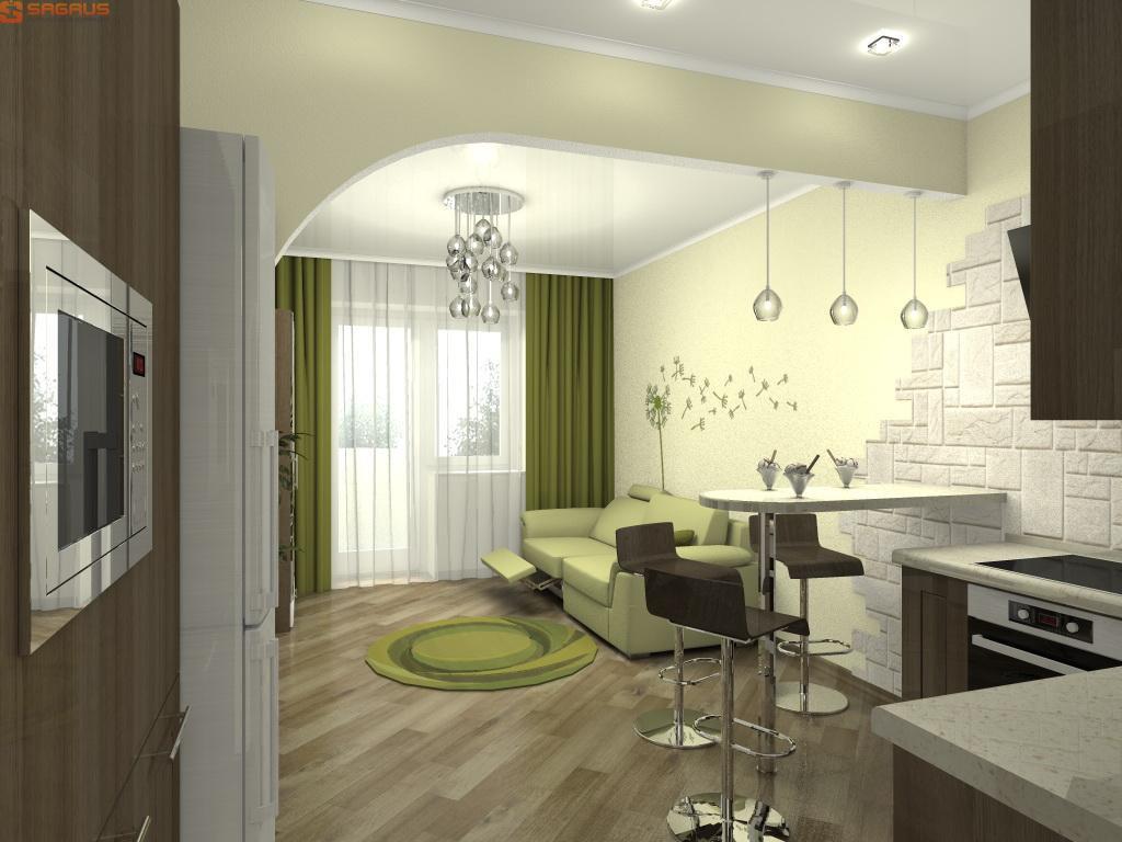 Фото квартиры-студии в светлых тонах c зелеными акцентами