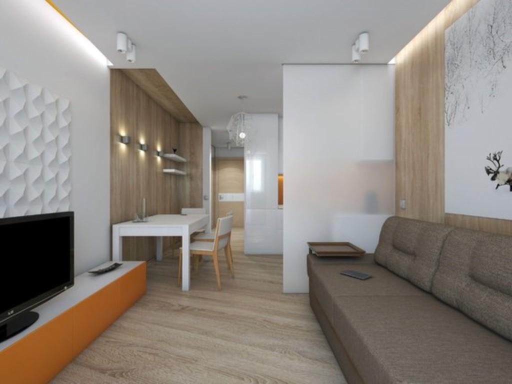 Сложное зонирование квартиры студии площадью 20 кв м