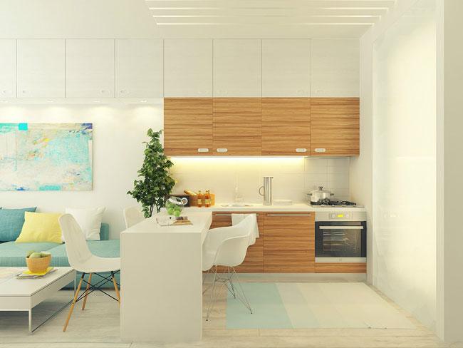 Фото интерьера кухни и обеденной зоны в маленькой квартире