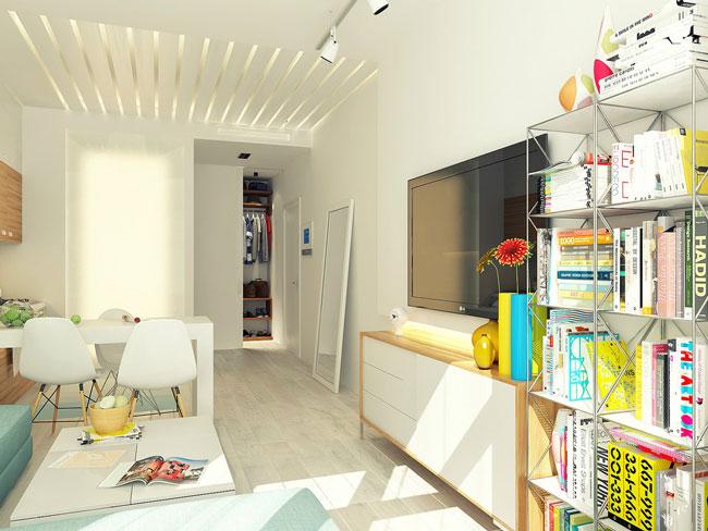 Маленькая студия 29 кв.м. - самый яркий элемент дизайна легкий металлический стеллаж