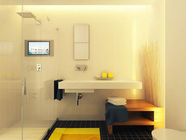 Фото современного интерьера ванной комнаты со стеклянной стеной от душа в комнату, здесь всегда светло