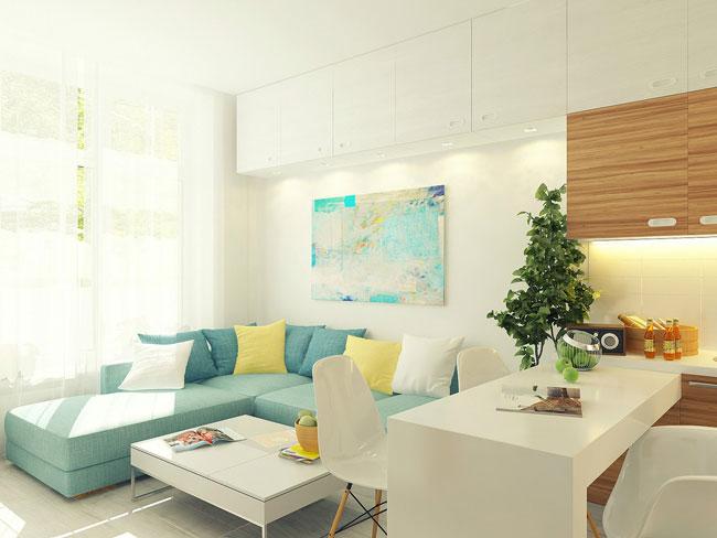 Зона отдыха в маленькой квартире студии -бирюзовый диван