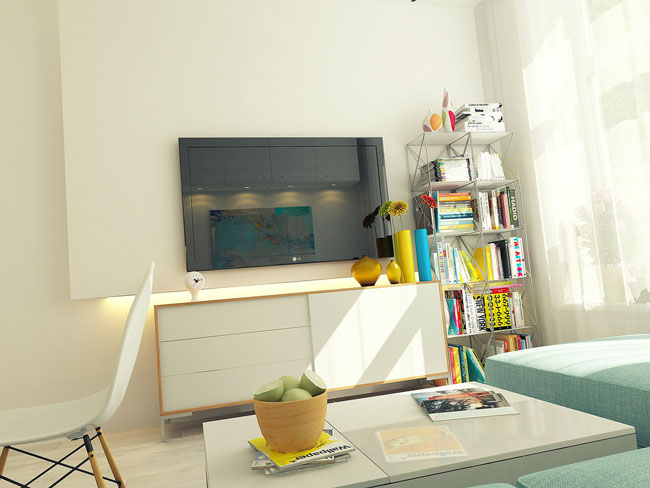 Фото зоны отдыха - телевизор и стеллажи