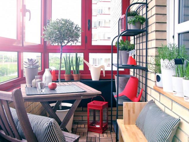 Дизайн столовой в красно-черно-белых тонах