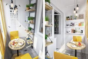 Еще один интересный дизайн мини-столовой, но уже в серо-желто-белой гамме