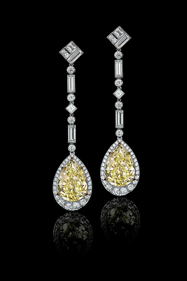 Серьги из платины с желтыми бриллиантами Tiffany & Co