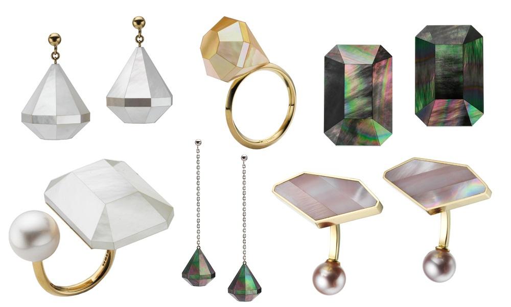Модные геометрические украшения с жемчугом 2017