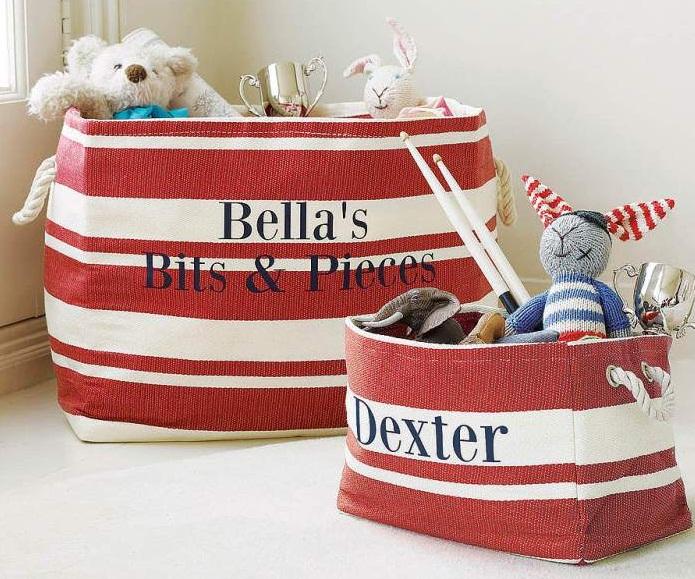 Мешки для игрушек из плотной парусины с именами