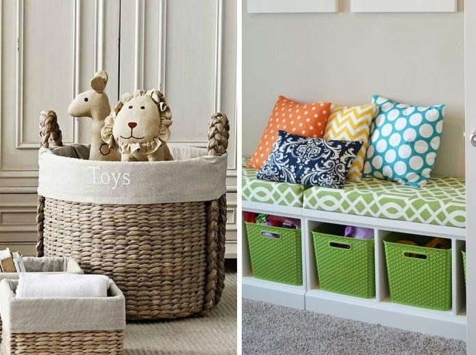 Плетеные и пластиковые корзины для игрушек