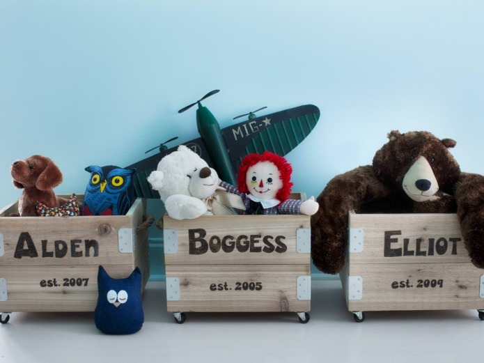 Деревянные ящики для игрушек, для каждого малыша свой