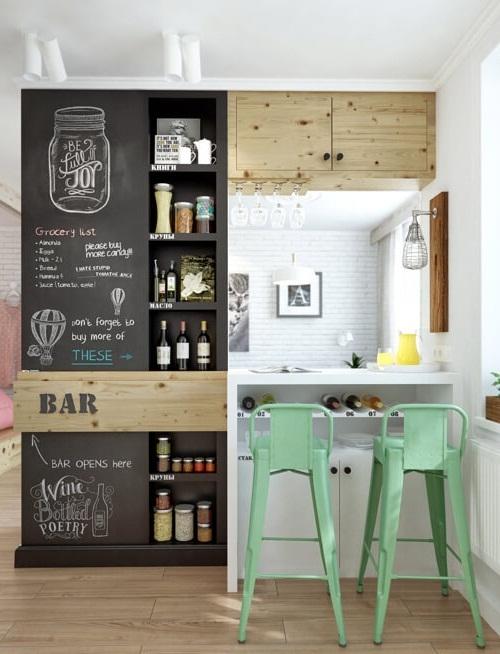 Декоративная перегородка на кухне с грифельным покрытием
