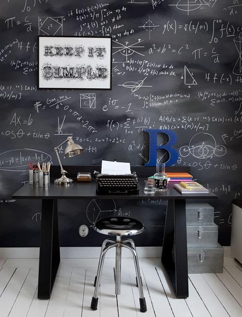 Стена-черновик в домашнем офисе