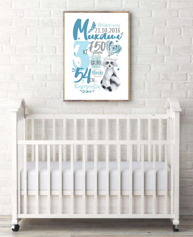 Постер с метрикой для интерьера детской малыша