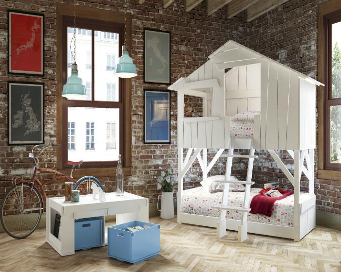 Очень стильный детский лофт с двухъярусной кроватью-домиком