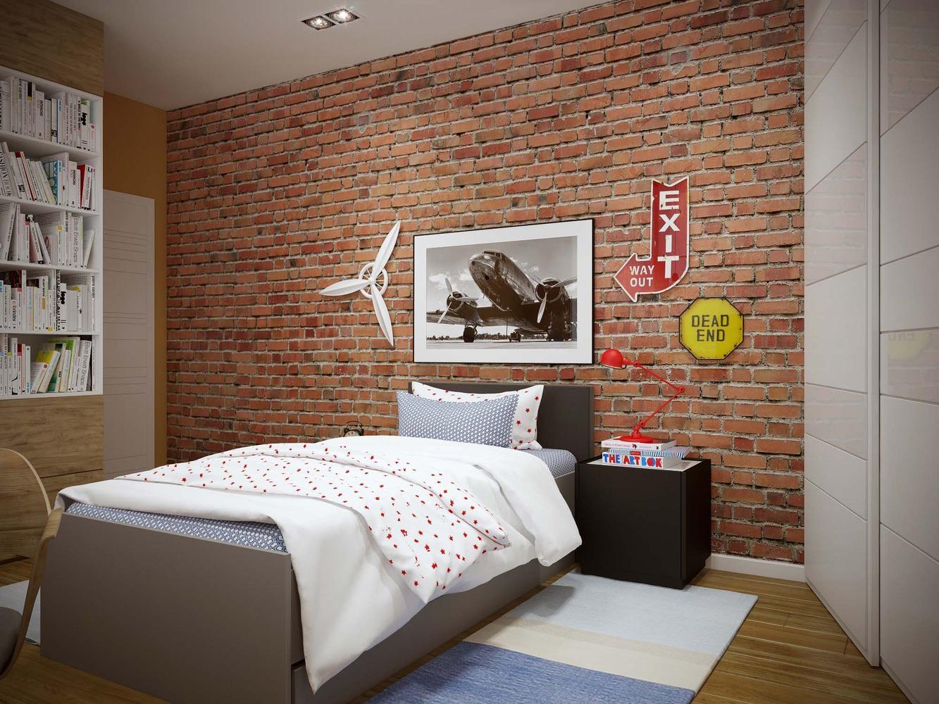 Кирпичная стена в комнате подростка