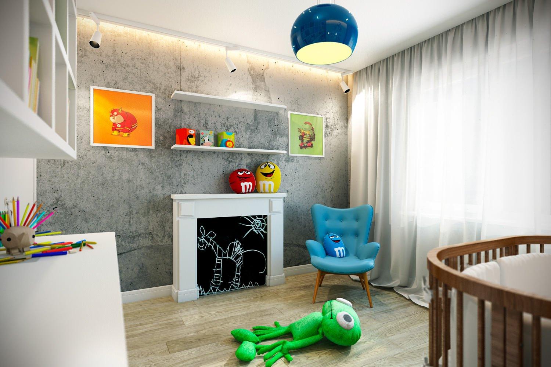 Ламинат с грубой текстурой и «бетонная» стена в детской малыша